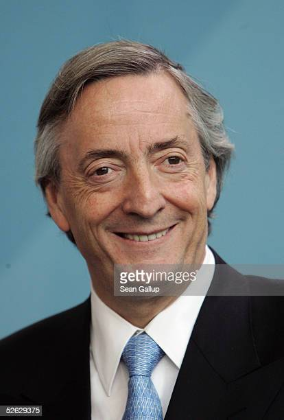 Argentinian President Nestor Kirchner attends a news conference April 14 2005 at the Chancellery in Berlin Germany Kirchner is on an official visit...