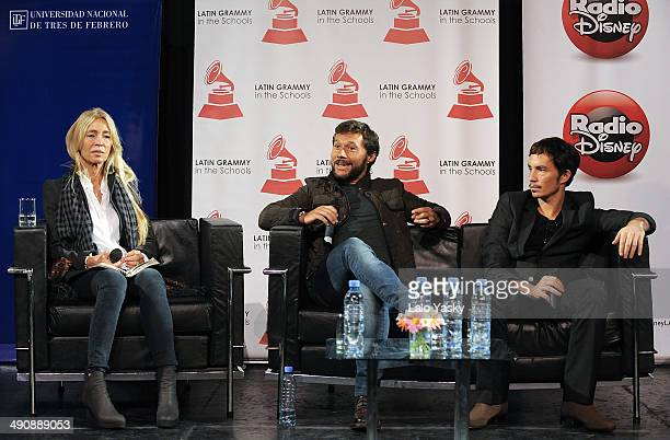 Argentinian producer Cris Morena and musicians Diego Torres and Emmanuel Horvilleur attend Latin GRAMMY En Las Escuelas - Buenos Aires with the...