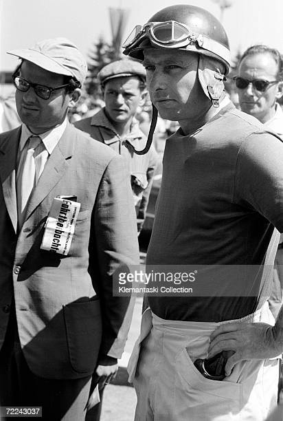 Argentinian racing driver Juan Manuel Fangio at the Nurburgring for the German Grand Prix, 4th August 1957.