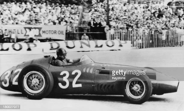 Argentinian racing driver Juan Manuel Fangio driving a Maserati 250F in the Monaco Grand Prix Monte Carlo 19th May 1957 He finished in first place