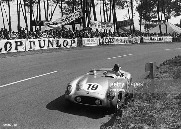 Argentinian racing driver Juan Manuel Fangio in a MercedesBenz 300 SLR at the 24 Hours of Le Mans at the Circuit de la Sarthe France 11th12th June...