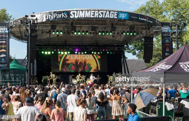 Argentinian Reggae and Rock band Los Pericos perform onstage at the closing concert of the 18th Annual LAMC at Central Park SummerStage New York New...