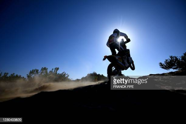 Argentinian rider Luciano Benavides competes during Stage 1 of the 2021 Dakar Rally between Jeddah and Bisha in Saudi Arabia, on January 3, 2021.