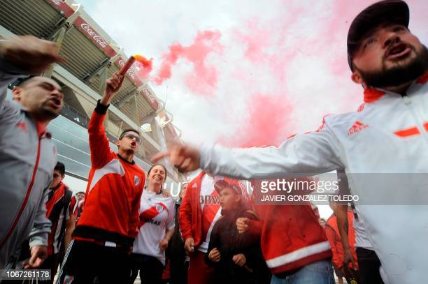 Argentinian River Plate's supporters protest outside the club's stadium in Buenos Aires on December 1 2018 River Plate said Saturday they have...
