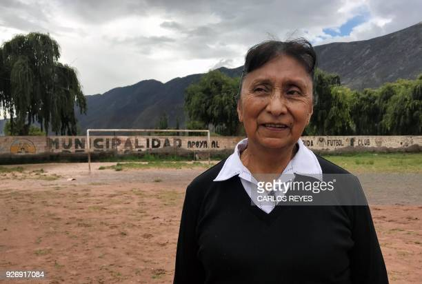 Argentinian Sara Vera poses on her football pitch where Argentina's national football team trained in 1986 in Tilcara Jujuy province Argentina on...
