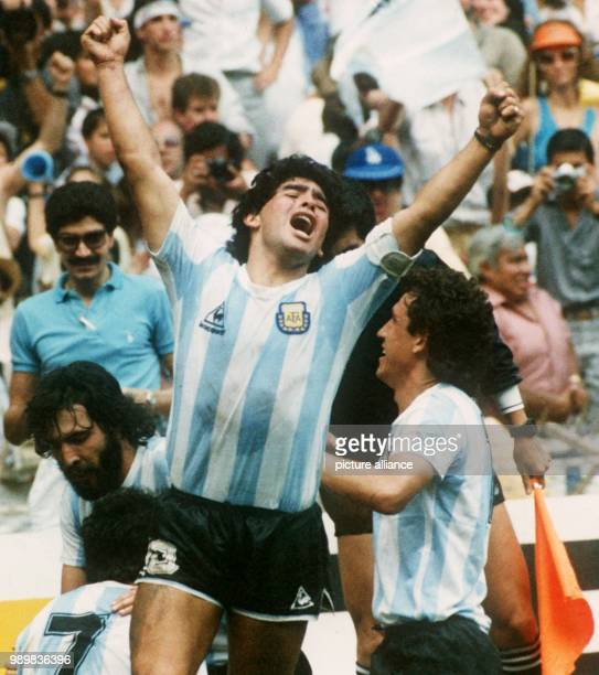 Argentinian soccer ace Diego Maradona is overcome with joy and cheers as his team wins the 1986 World Cup final for a second time at the Aztec...