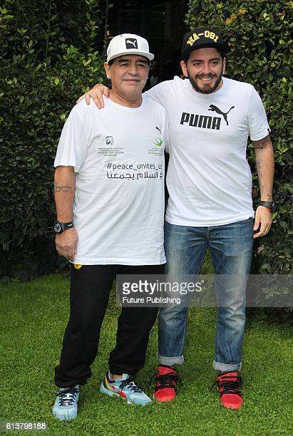 Argentinian soccer legend Diego Armando Maradona with his son Diego Armando Maradona Junior poses during the photocall for the presentation of the...