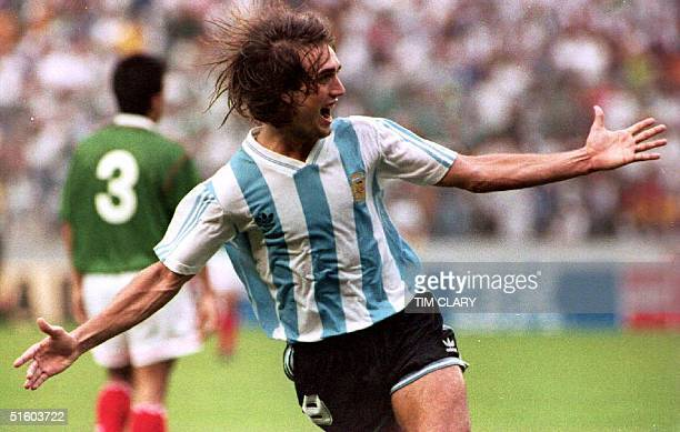 Argentinian soccer player Gabriel Batistuta raises his arms and yells in Guayaquil Ecuador 04 July 1993 after scoring the second and winning goal in...