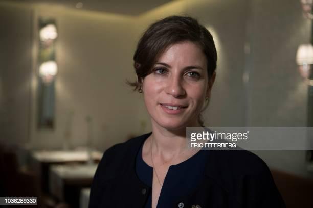 Argentinian sommelier Paz Levinson poses at the restaurant 'La Dame de Pic' on September 14 2018 in Paris Paz Levinson is head sommelier for the...