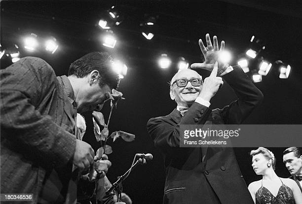 Argentinian tango pianist Osvaldo Pugliese on stage at Carré in Amsterdam, Netherlands on 26th June 1989.