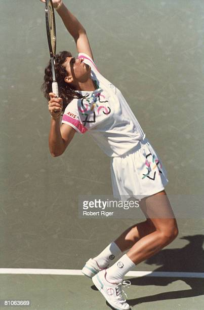 Argentinian tenni splayer Gabriela Sabatini in the midst of a tennis match late 1980s