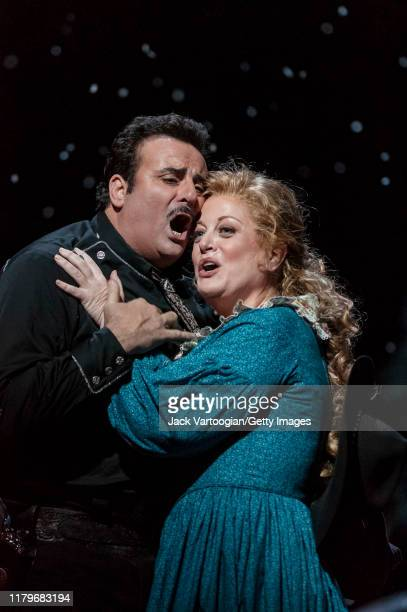 Argentinian tenor Marcello Giordani and American soprano Deborah Voigt perform during the final dress rehearsal prior to the season revival of the...