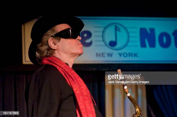 Argentinian tenor saxophonist Gato Barbieri leads his band during a performance at The Blue Note nightclub New York New York May 16 2008