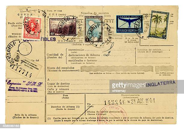 argentinian travel document, 1951 - passport stamp stock photos and pictures