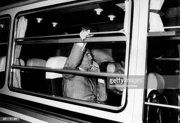 Argentinianborn French coach Helenio Herrera sitting into a bus Mantua 1st June 1967