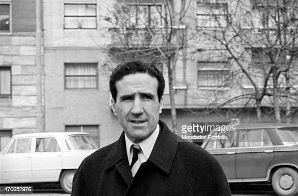 Argentinianborn French football trainer Helenio Herrera is shot halflength while he is in the street he nicknamed The Wizard is wellknown for the...
