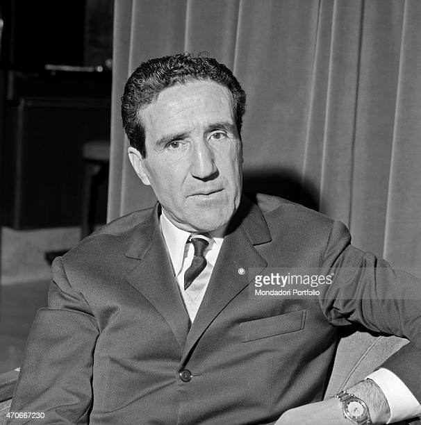 Argentinianborn French football trainer Helenio Herrera poses sitting in an armchair he nicknamed The Wizard is wellknown for the resounding...