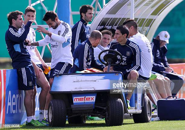 Argentinian's players during an Argentina training session on June 4 2013 in Buenos Aires Argentina The Argentina National Team will face Colombia as...