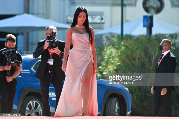 """Argentinian-Spanish model and actress Georgina Rodriguez arrives for the screening of the film """"The Human Voice"""" presented out of competition on the..."""