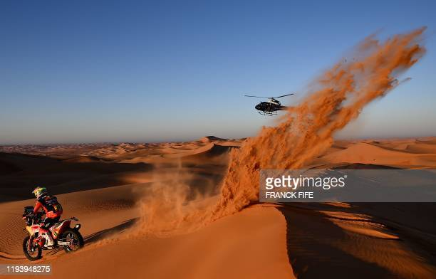 Argentinia's Luciano Benavides powers his KTM during the Stage 11 of the Dakar 2020 between Shubaytah and Haradh, Saudi Arabia, on January 16, 2020.