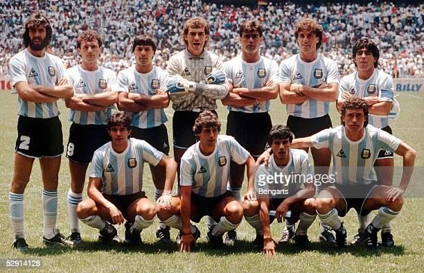 WM 1986 Finale Mexico ARGENTINIEN DEUTSCHLAND 23 TEAM ARGENTINIEN/hintere Reihe vlinre Sergio Daniel BATISTA Jose Luis CUCIUFFO Julio OLARTICOECHEA...