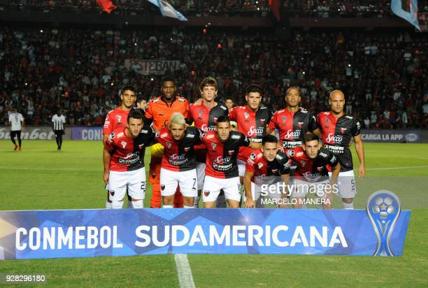 Argentin's Colon football team poses for a picture before their Copa Sudamericana football match against Venezuela's Zamora at the Brigadier General...