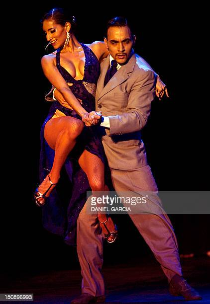 Argentna's couple Hector Salinas and Gabriela Aguirre perform during the final competition of Stage Tango on August 28 2012 at the World Championship...