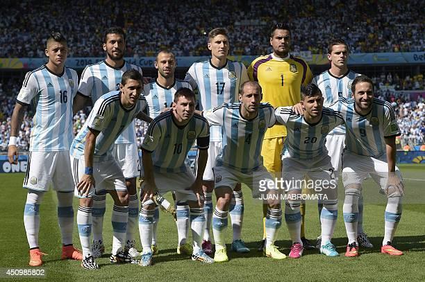 Argetina's national team Argentina's defender Marcos Rojo Argentina's defender Ezequiel Garay Argentina's midfielder Javier Mascherano Argentina's...