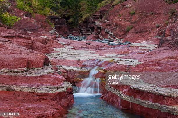 Argillite sedimentary mineral layers in Lost Horse Creek Red Rock Canyon Waterton Lakes National Park Alberta Canada