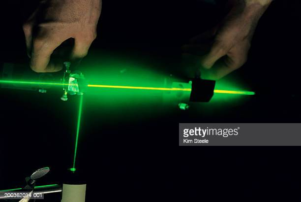 Argon laser emitting gases in test laboratory
