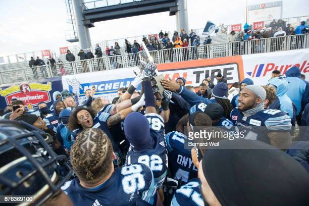 TORONTO ON NOVEMBER 19 Argos celebrate after beating Saskatchewan Roughriders in the CFL Eastern Final at BMO Field November 19 2017