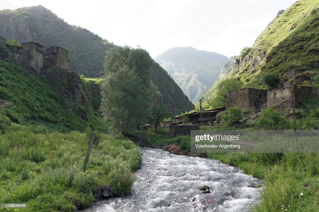Argun River in Shatili village, Caucasus Mountains, Georgia : ストックフォト