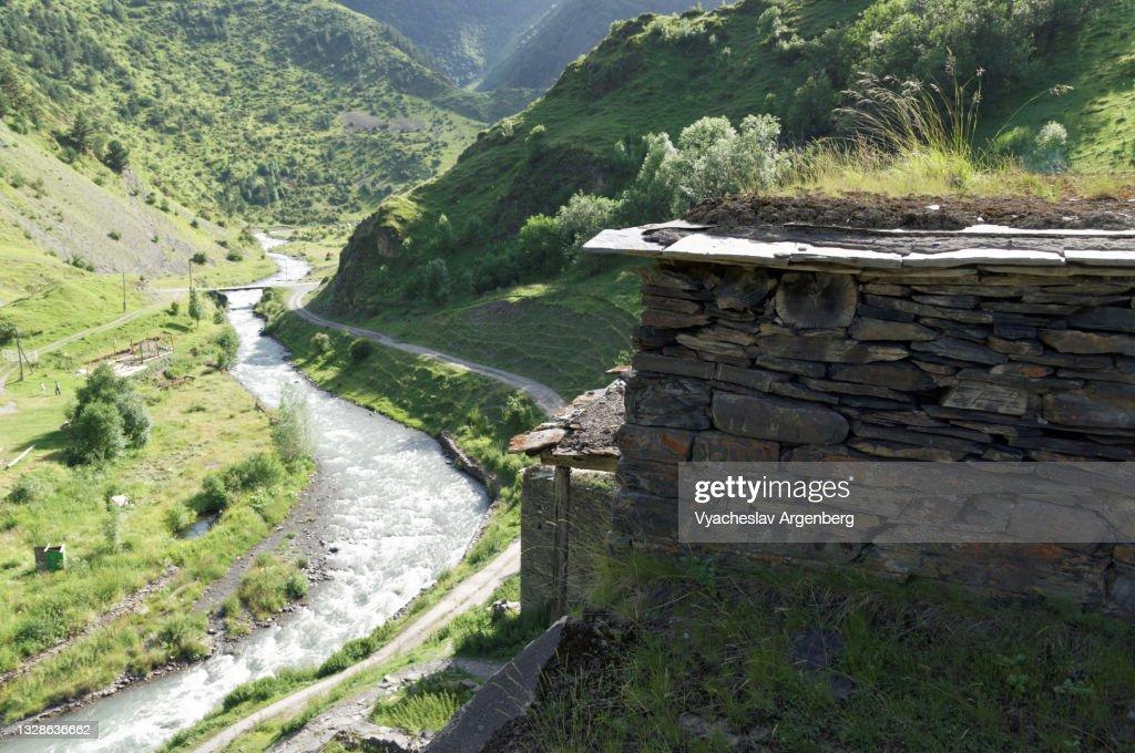 Argun River, Shatili houses, Georgia : Stock Photo