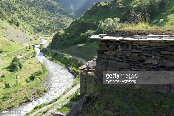 argun river, shatili houses, georgia - argenberg stock pictures, royalty-free photos & images