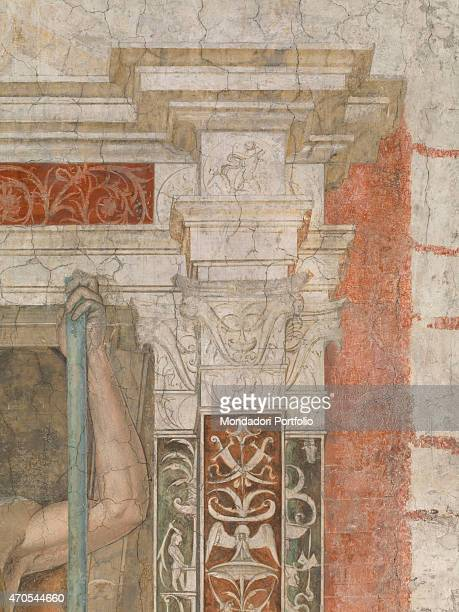 'Argus by Bramantino c 1490 15th Century fresco Italy Lombardy Milan Sforza Castle Detail A partial view of a vertical grotesque with architectural...