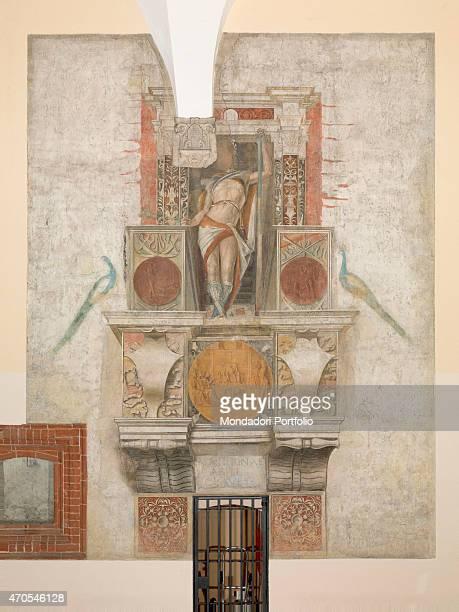 'Argus by Bramantino c 1490 15th Century fresco Italy Lombardy Milan Sforza Castle Whole artwork view The fresco depicts Argus inside a fake niche...