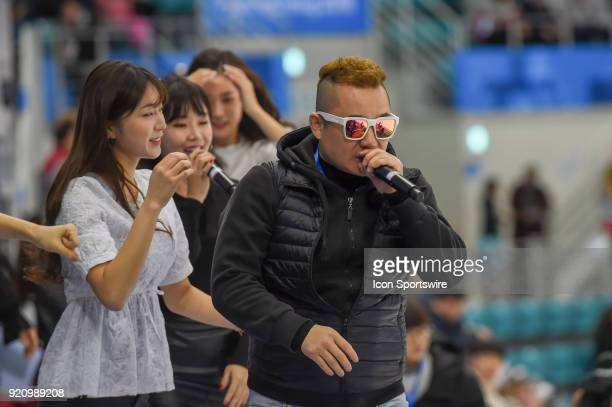 Ari Ari performs while entertaining fans during intermission during the women's hockey semi finals between the U.S.A. And Finland during the 2018...