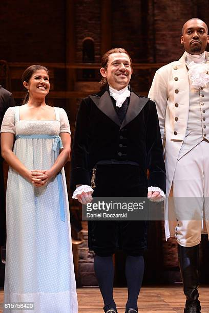 Ari Asfar Miguel Cervantes and Joshua Henry attend the curtain call for Hamilton Chicago opening night at PrivateBank Theatre on October 19 2016 in...