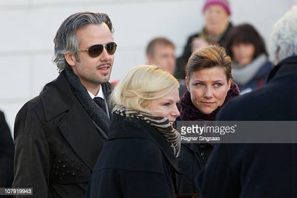 Ari Behn and Princess Martha Louise of Norway attend the funeral of his grandmother Anne-Marie Solberg at Immanuels Kirke on January 7, 2011 in...