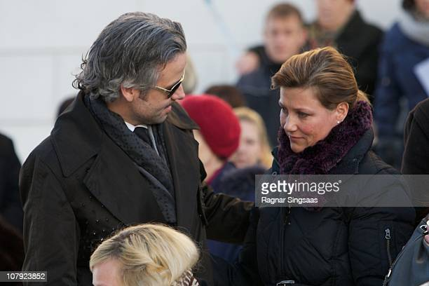 Ari Behn and Princess Martha Louise of Norway attend the funeral of Anne-Marie Solberg, grandmother of Ari Behn at Immanuels Kirke on January 7, 2011...
