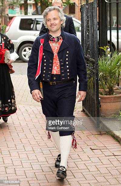 Ari Behn arrives at the Noweigan church to celebrate Norway National Day on May 17 2013 in London England