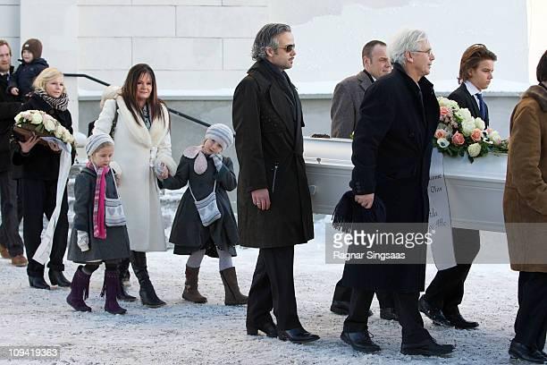 Ari Behn attends the funeral of his grandmother AnneMarie Solberg at Immanuels Kirke on January 7 2011 in Halden Norway