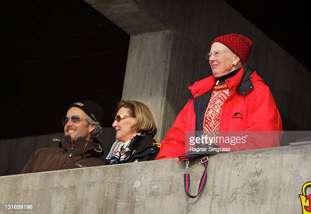 Ari Behn, Queen Sonja of Norway and Queen Margrethe II of Denmark attend the Men's Relay 4x10km Classic/Free race during the FIS Nordic World Ski...