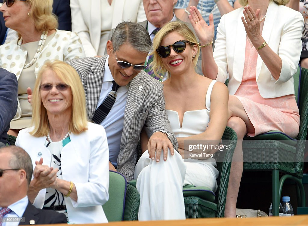 Ari Emanuel and Sienna Miller attend day eleven of the Wimbledon Tennis Championships at Wimbledon on July 10, 2015 in London, England.