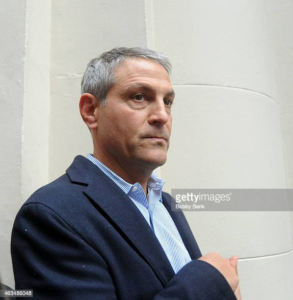 Ari Emanuel CEO of William Morris Endeavor exits the stage doors of Fish in the Dark at the Cort Theatre on February 14 2015 in New York City