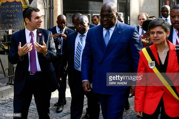 CEO Ari Epstein chats with DR Congo President Felix Tshisekedi and Antwerp province governor Cathy Berx during a visit to the Antwerp World Diamond...