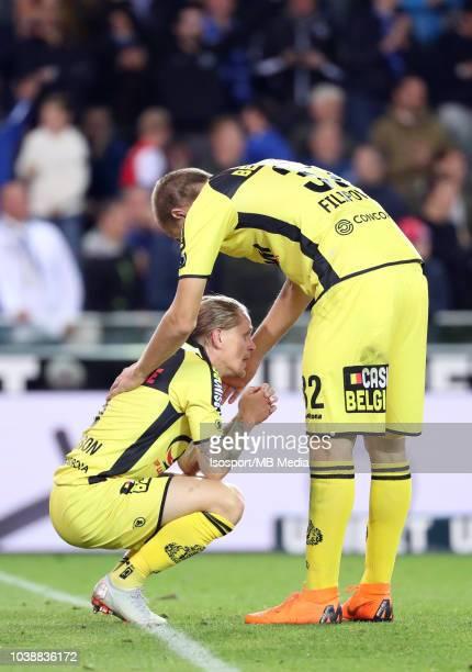 Ari Freyr Skulason looks dejected during the Jupiler Pro League match between Club Brugge and KSC Lokeren OV at Jan Breydel Stadium on September 14...