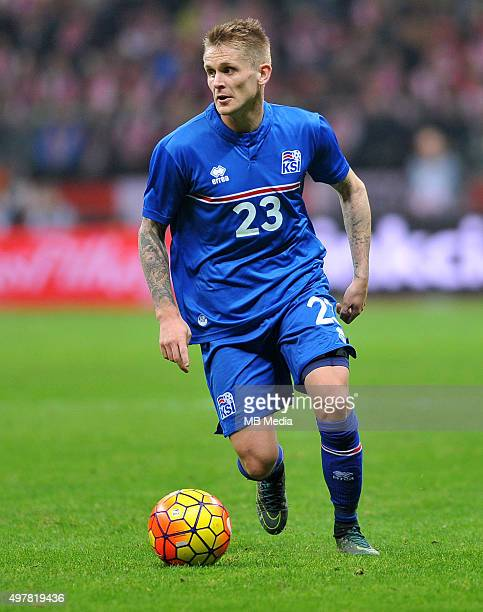 Ari Freyr Skulason of Iceland in action during the international friendly match against Poland on November 13 2015 in WarsawPoland'n