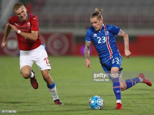 Ari Freyr Skulason of Iceland in action during the international friendly match between Iceland and Czech Republic at Abdullah bin Khalifa Stadium on...