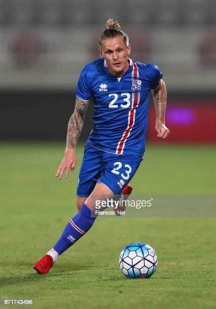 Ari Freyr Skulason of Iceland in action during the international friendly match between Iceland and Czech Republic at Abdullah bin Khalifa Stadium on...